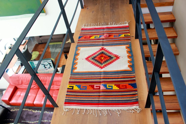 Traditional Sarape Style Rug From Oaxaca