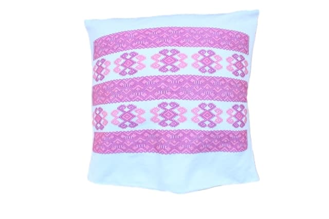 Mexican Cushion with a Pink Embroidery