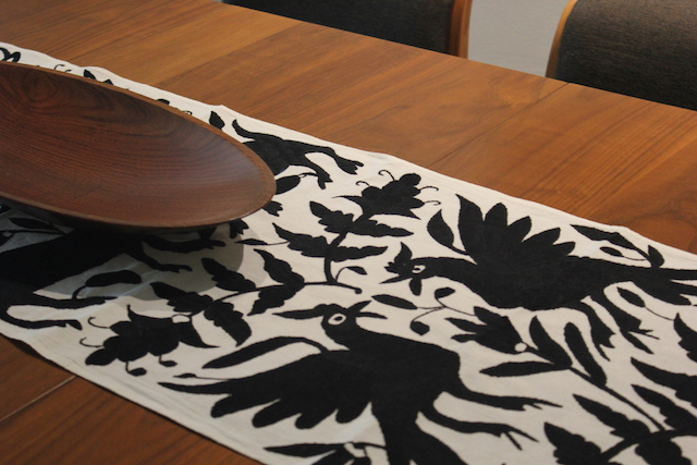Black Otomi Hand-woven Tablerunner or Wall Decor