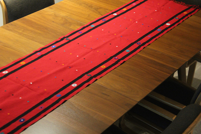 Red Hand-woven Tablerunner
