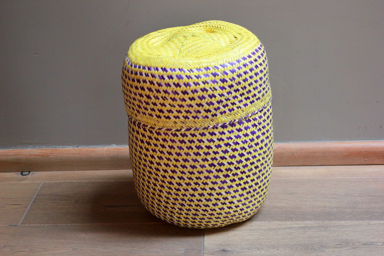 Hand-woven Yellow Palm Basket