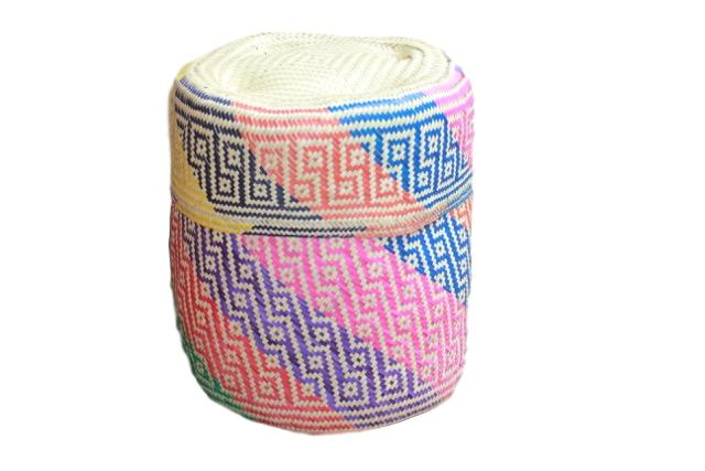 Hand-woven Multicolor Big Palm Basket