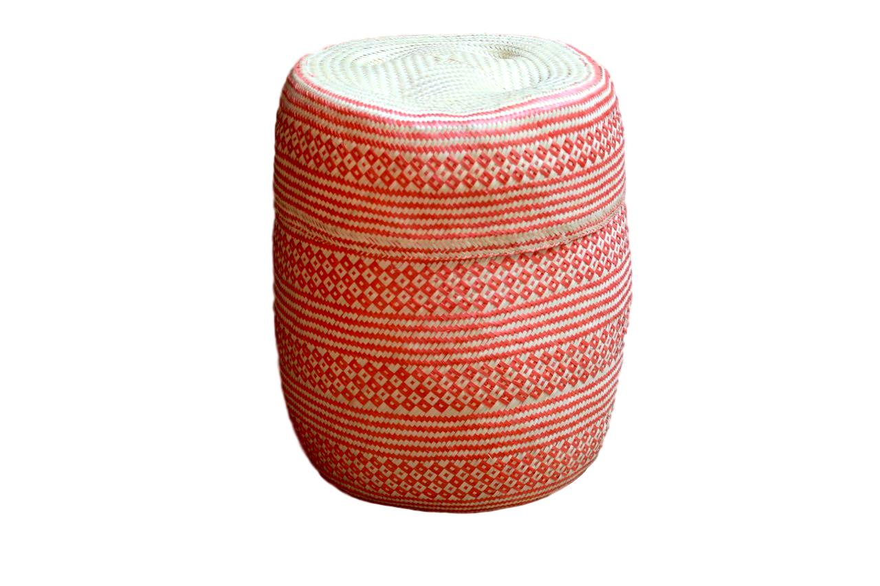 Hand-woven Orange Big Palm Basket