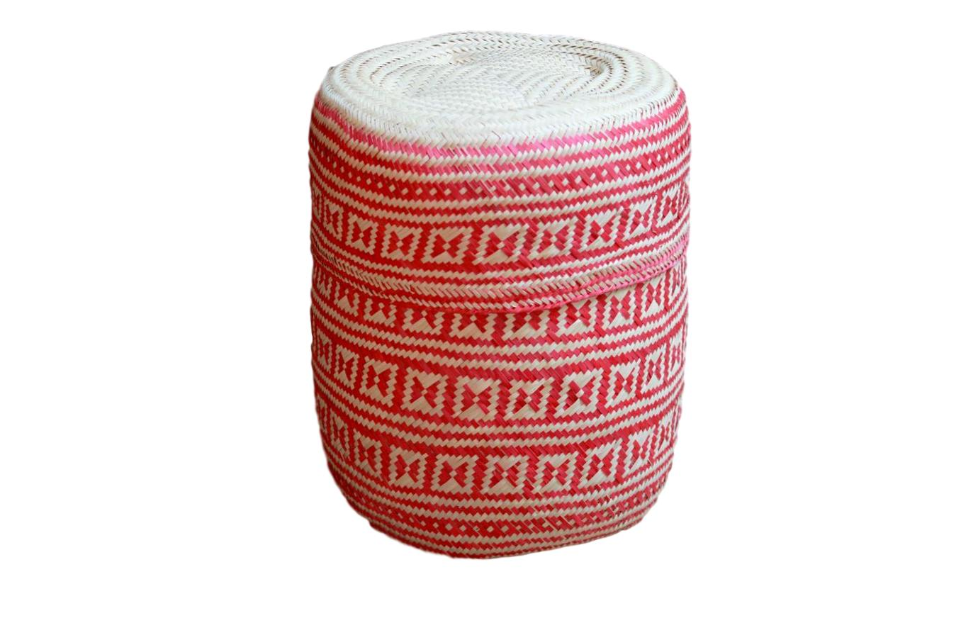 Hand-woven Red Medium Palm Basket