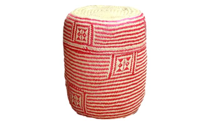 Hand-woven Red Medium Palm Basket II