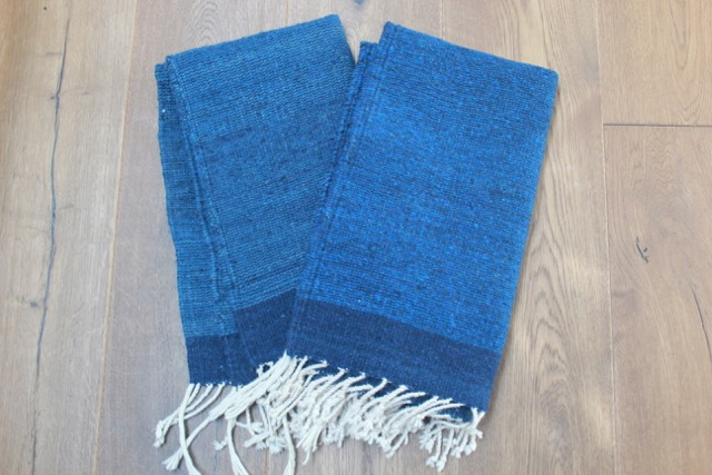 Mexican Pedal-Loom Blue Wool Rugs – A Pair