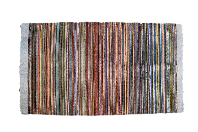 Mexican Pedal-Loom Gray Striped Wool Rug