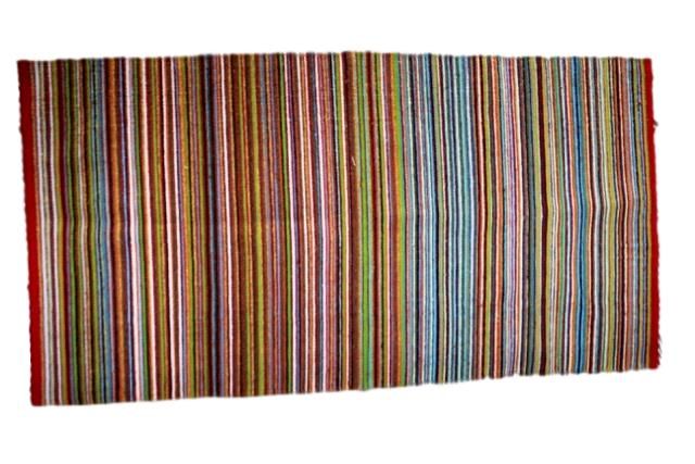 Mexican Pedal-Loom Striped Wool Rug
