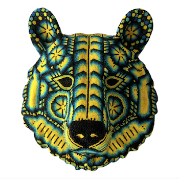 Wall Art Bear Huichol Head